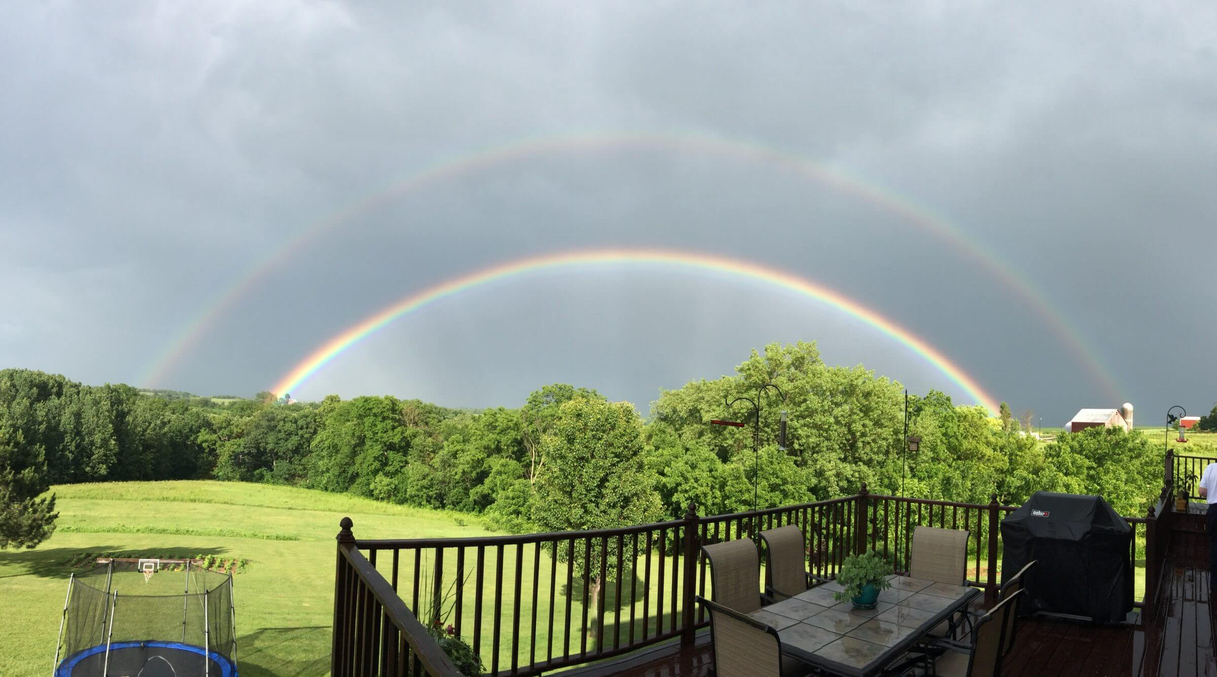 A view of a beautiful double rainbow in our backyard