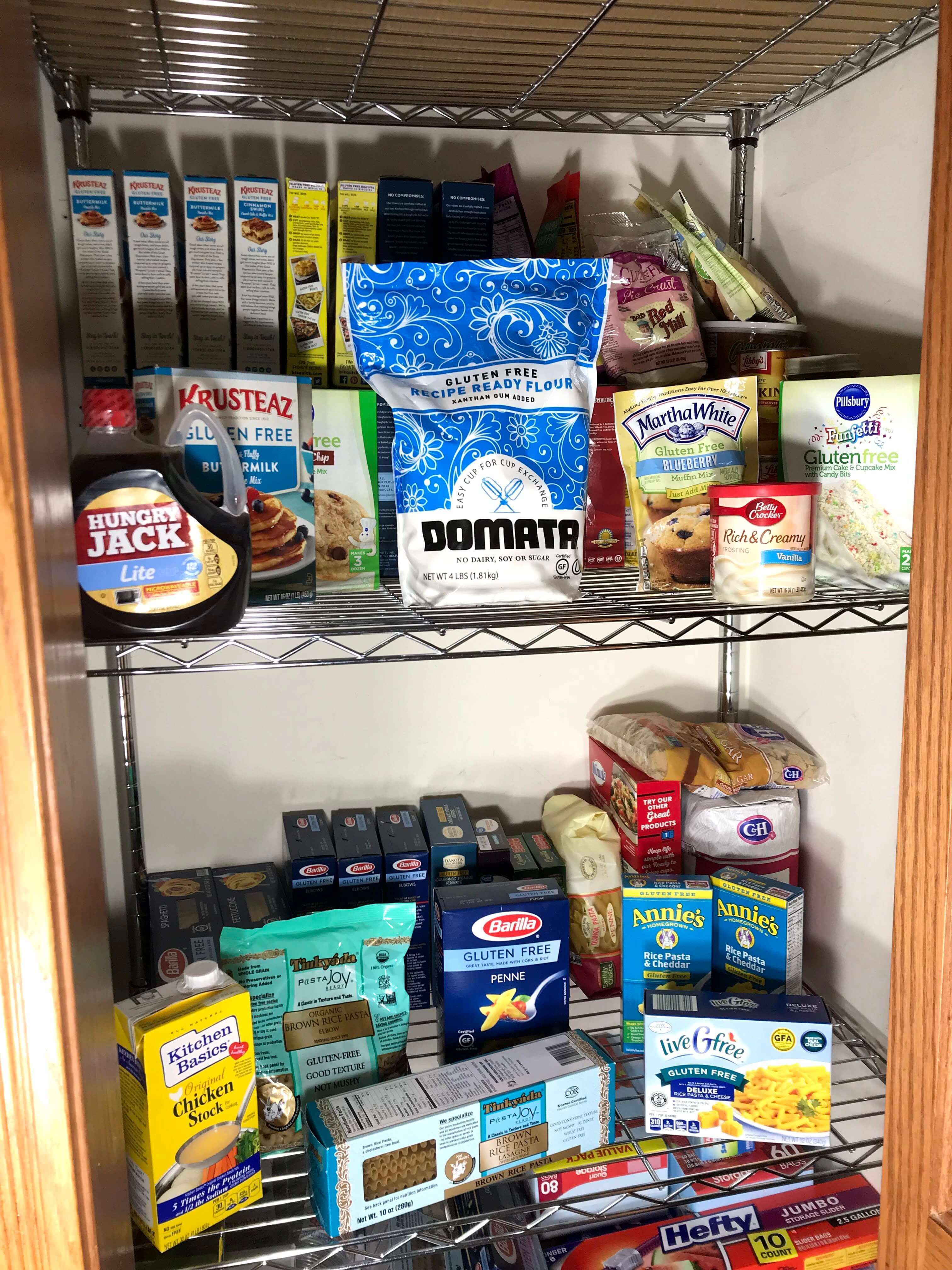 Our broom closet transformed into a pantry for gluten products