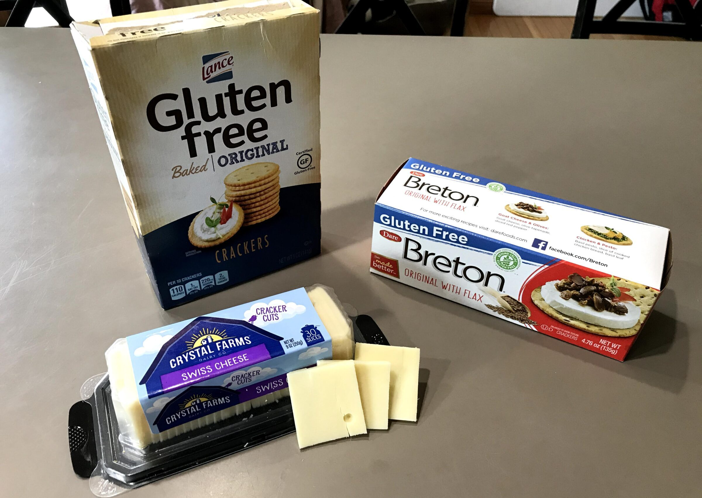 Gluten free Breton and Lance crackers with Crystal Farms cracker cuts cheese slices