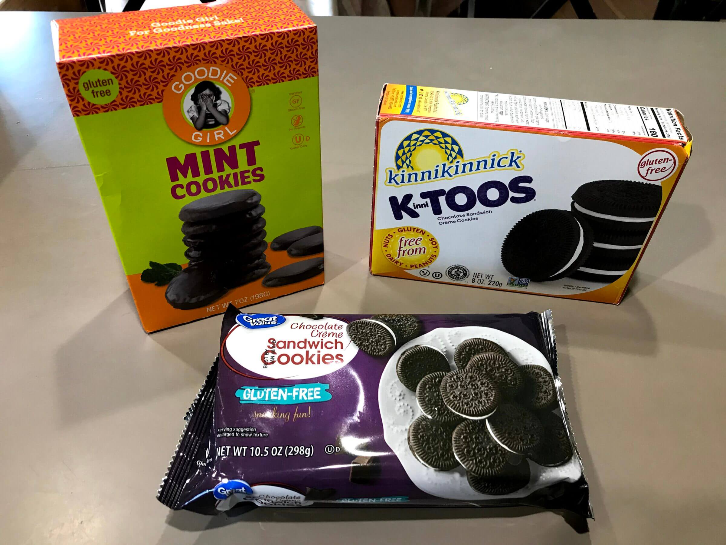 Gluten free cookies including Goodie Girl, Kinnikinnick, and Great Value brands