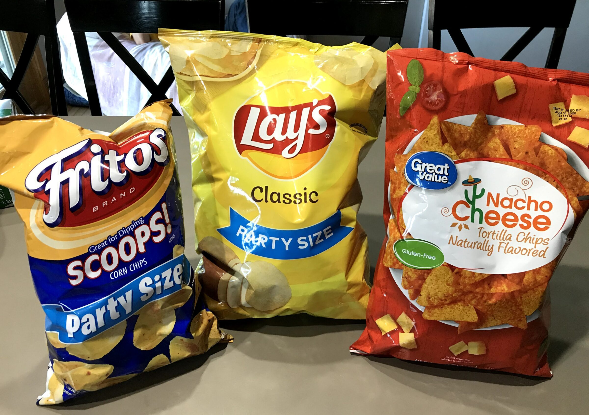 Gluten free chips including Fritos, Lays, and Great Value brands