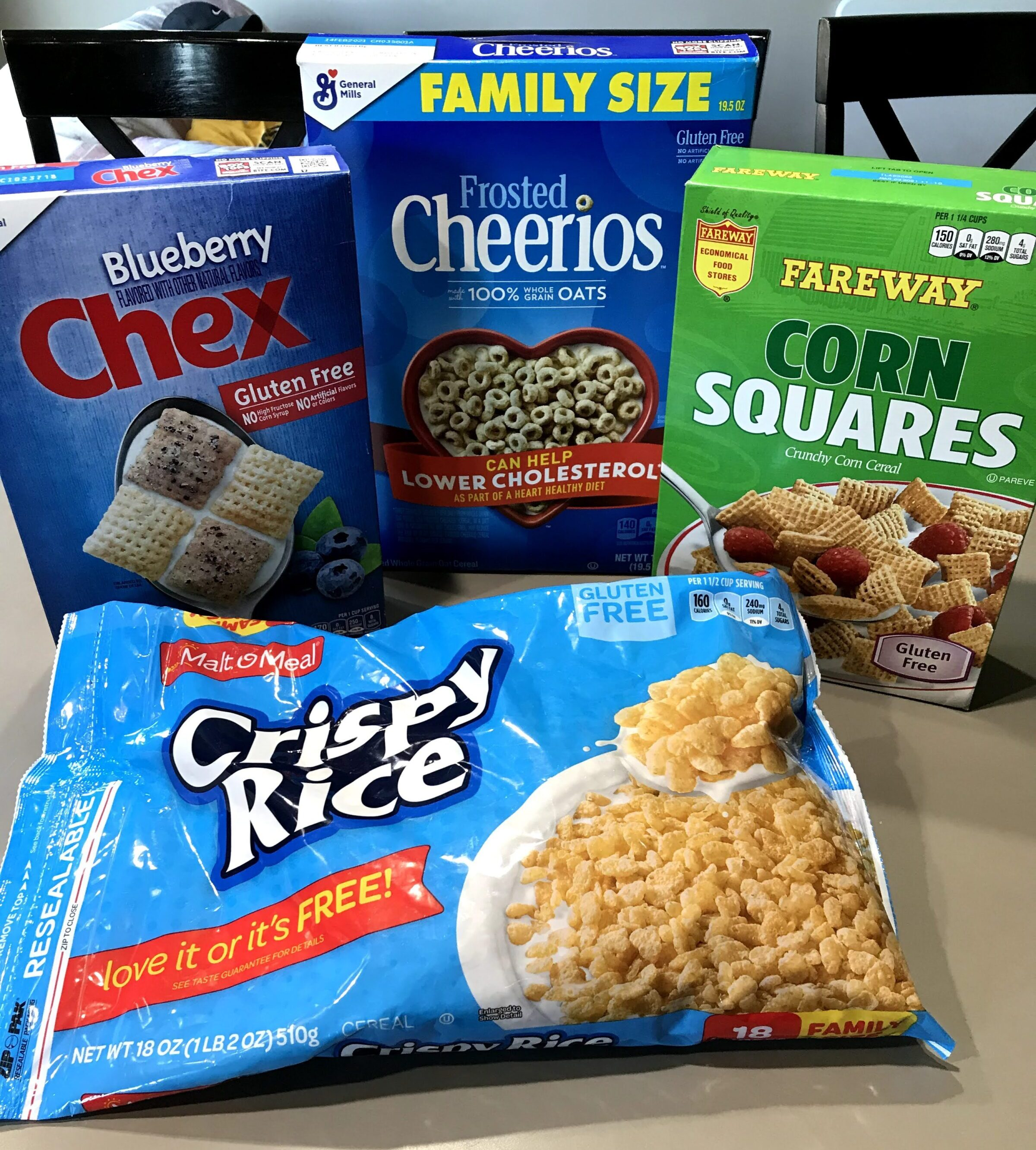 Gluten free cereals including Chex, Cheerios, and Malt O Meal Crispy Rice