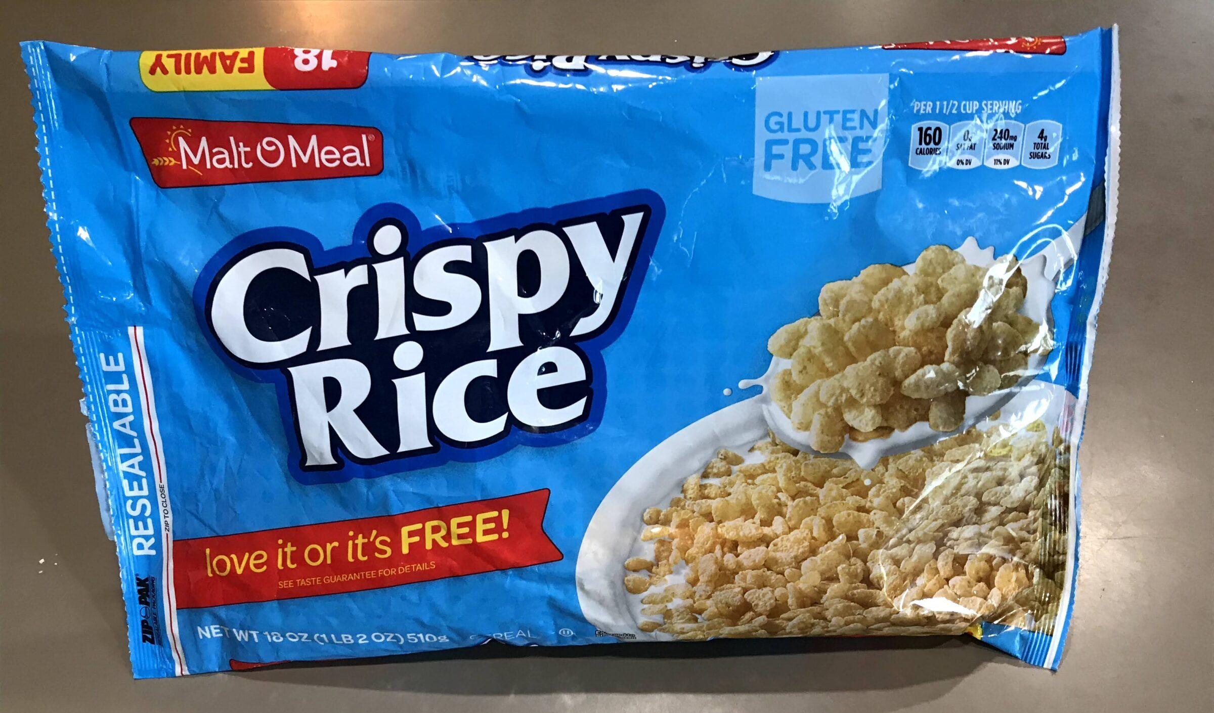 Gluten free Malt O Meal crispy rice cereal