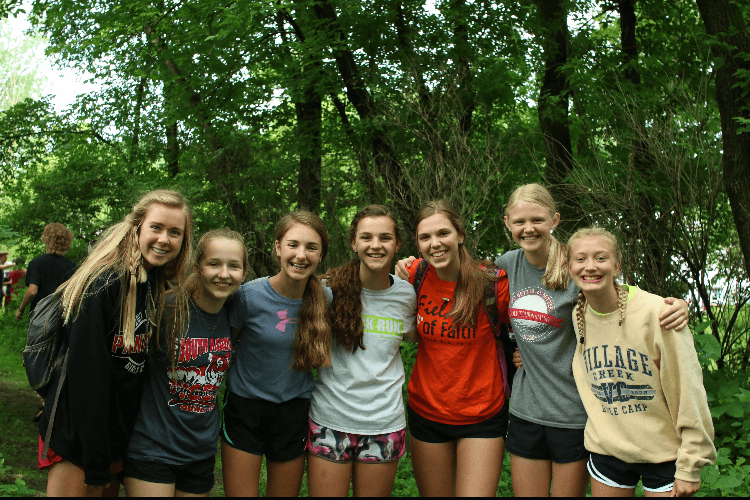 Grace with friends at Village Creek Bible Camp