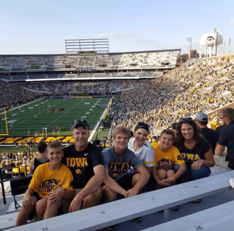 Our family at a Hawkeyes football game at Kinnick Stadium in Iowa City