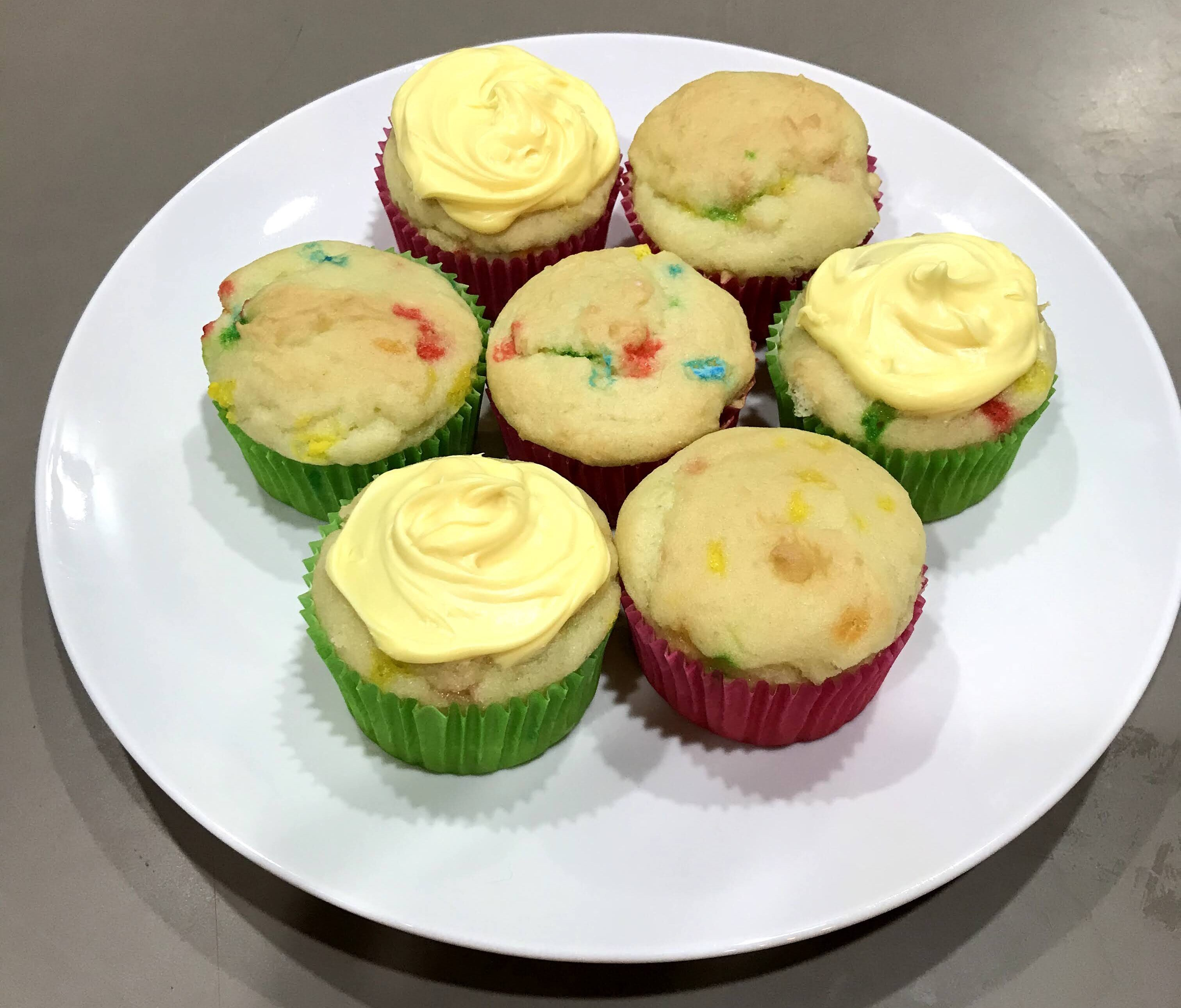Gluten free confetti cupcakes with frosting
