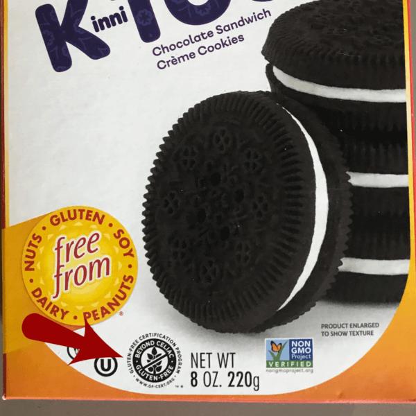 Certified gluten free symbol on package of cookies