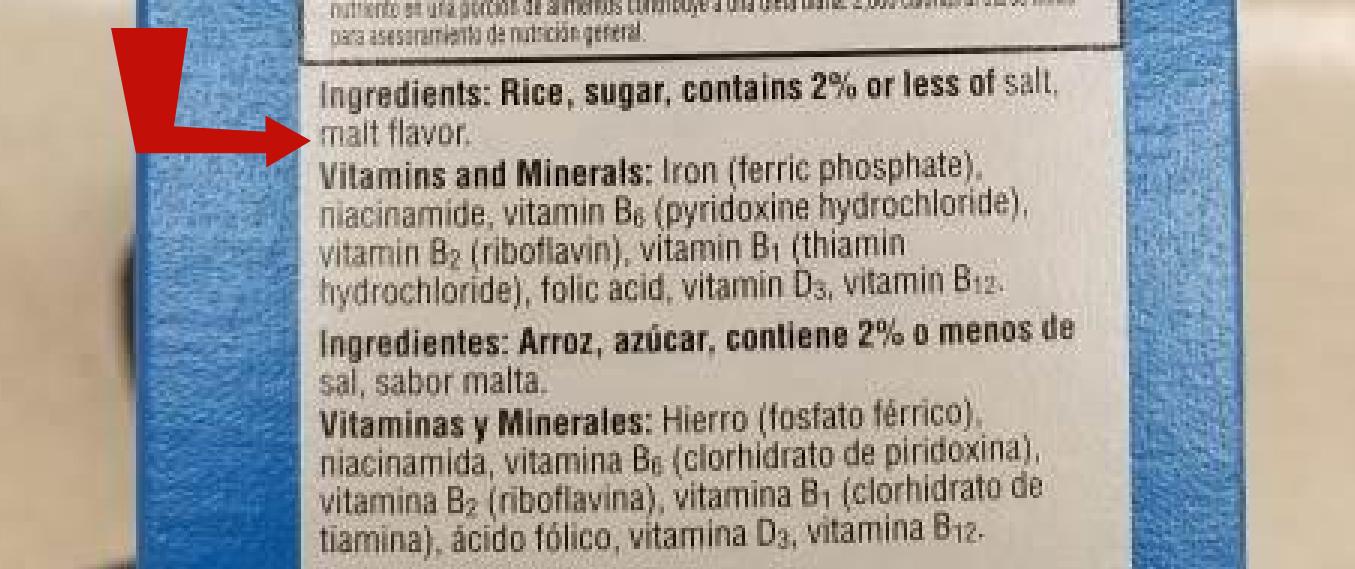 Barely in list of ingredients on Kellogg's Rice Krispies