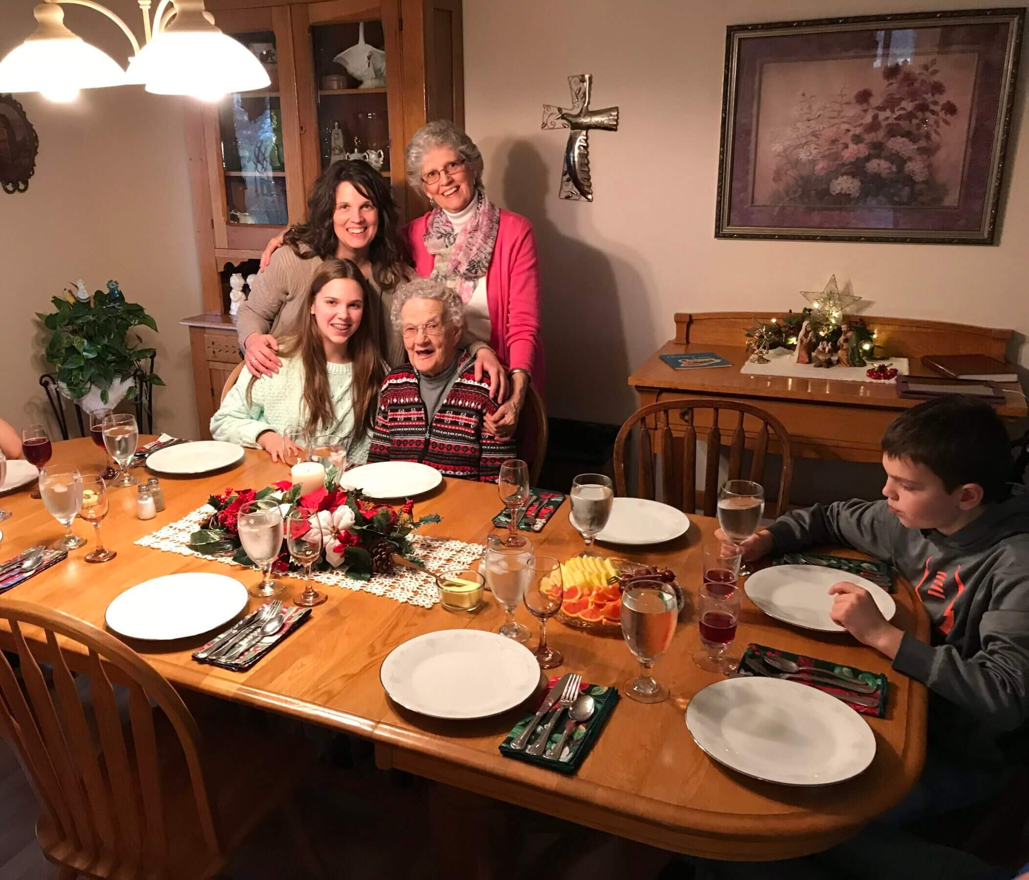 My family getting ready to eat dinner at Grandma's house