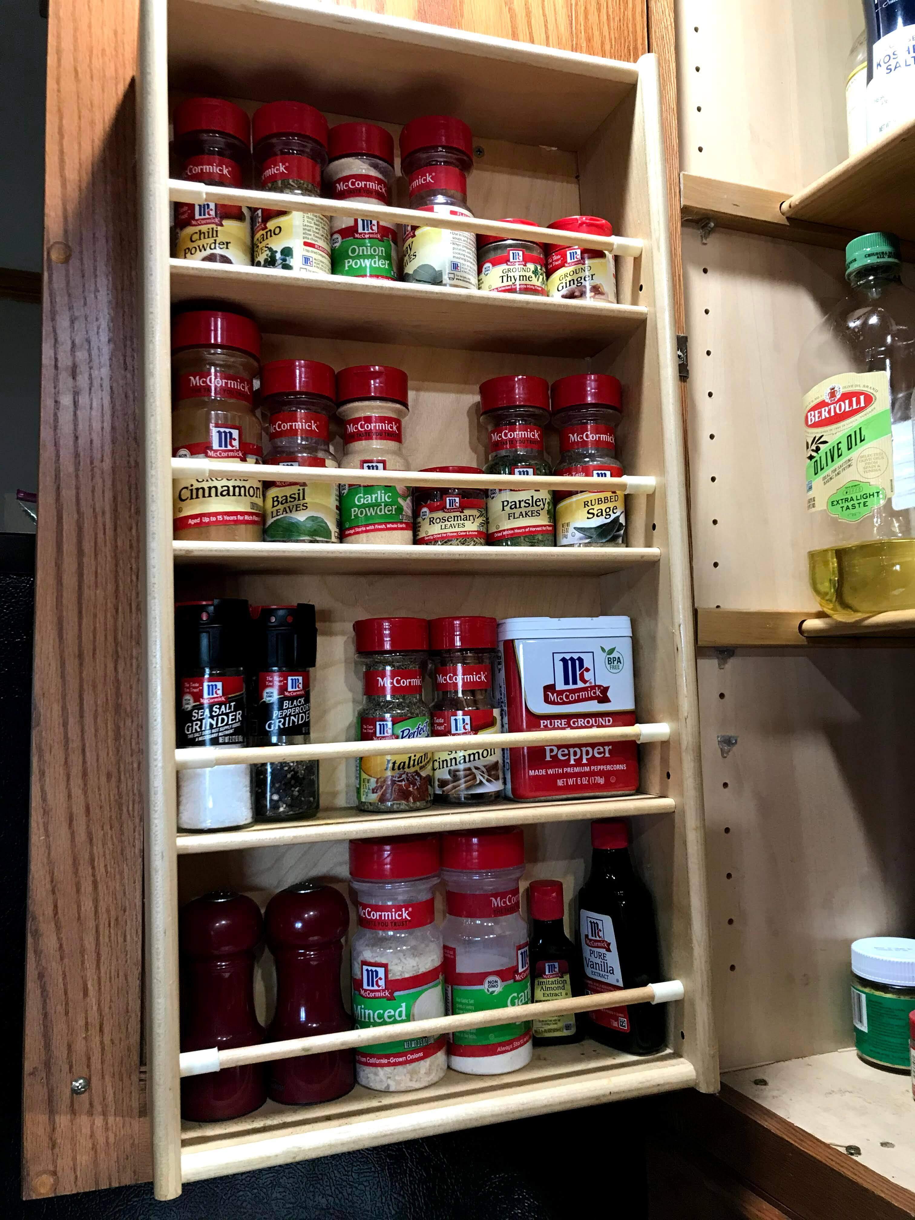 McCormick gluten free spice cabinet in the Stegen kitchen