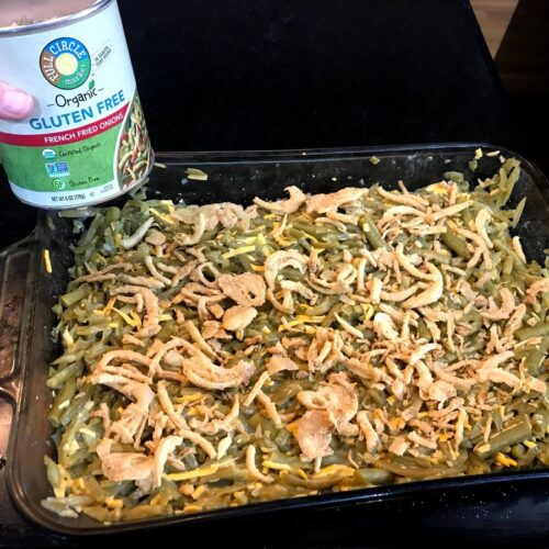 Green bean casserol with gluten free french fried onions