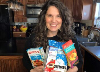 Jenny with handful of gluten free products