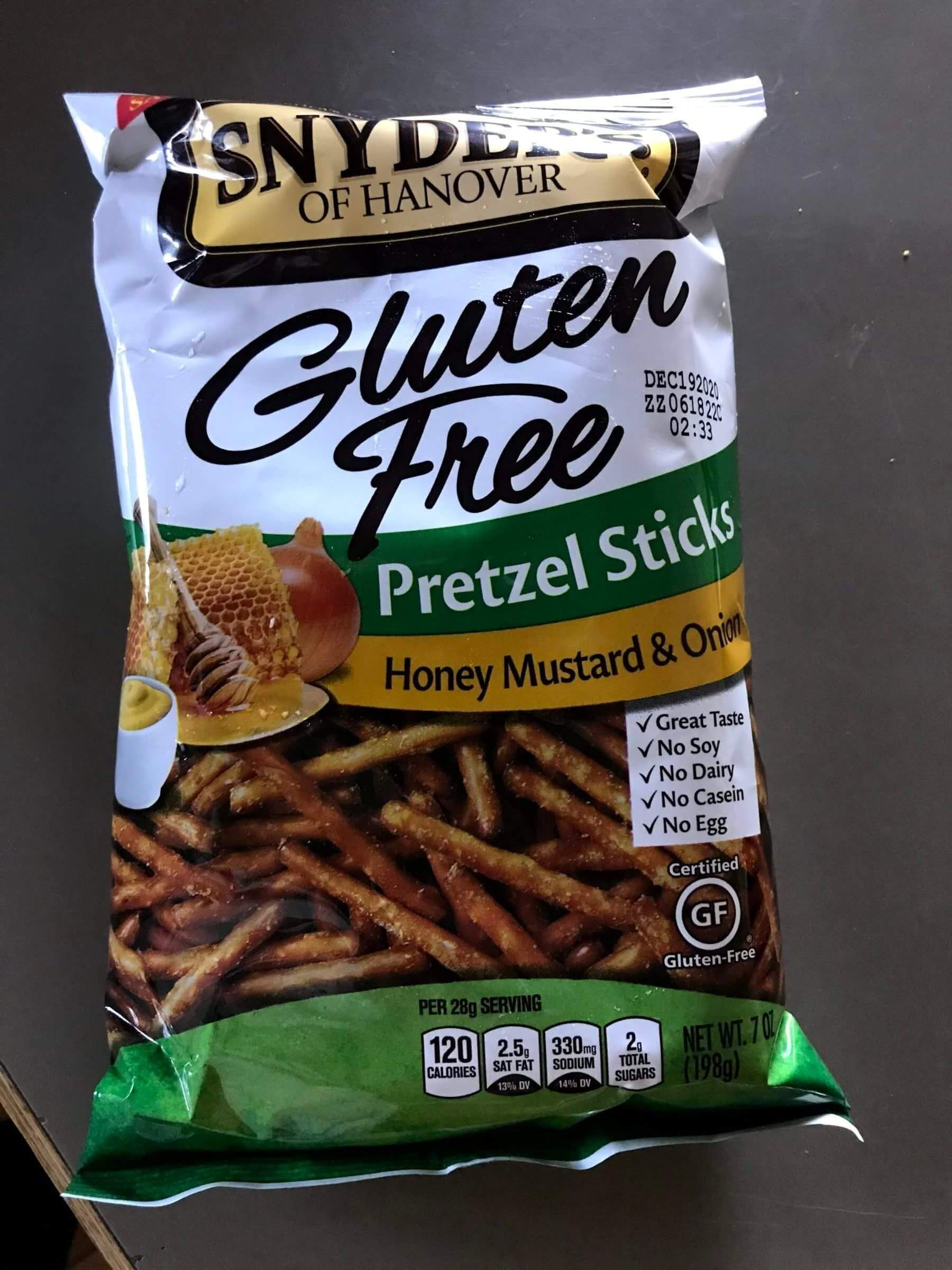 Product Photo of Snyder's of Hanover Gluten Free Honey Mustard and Onion Pretzels