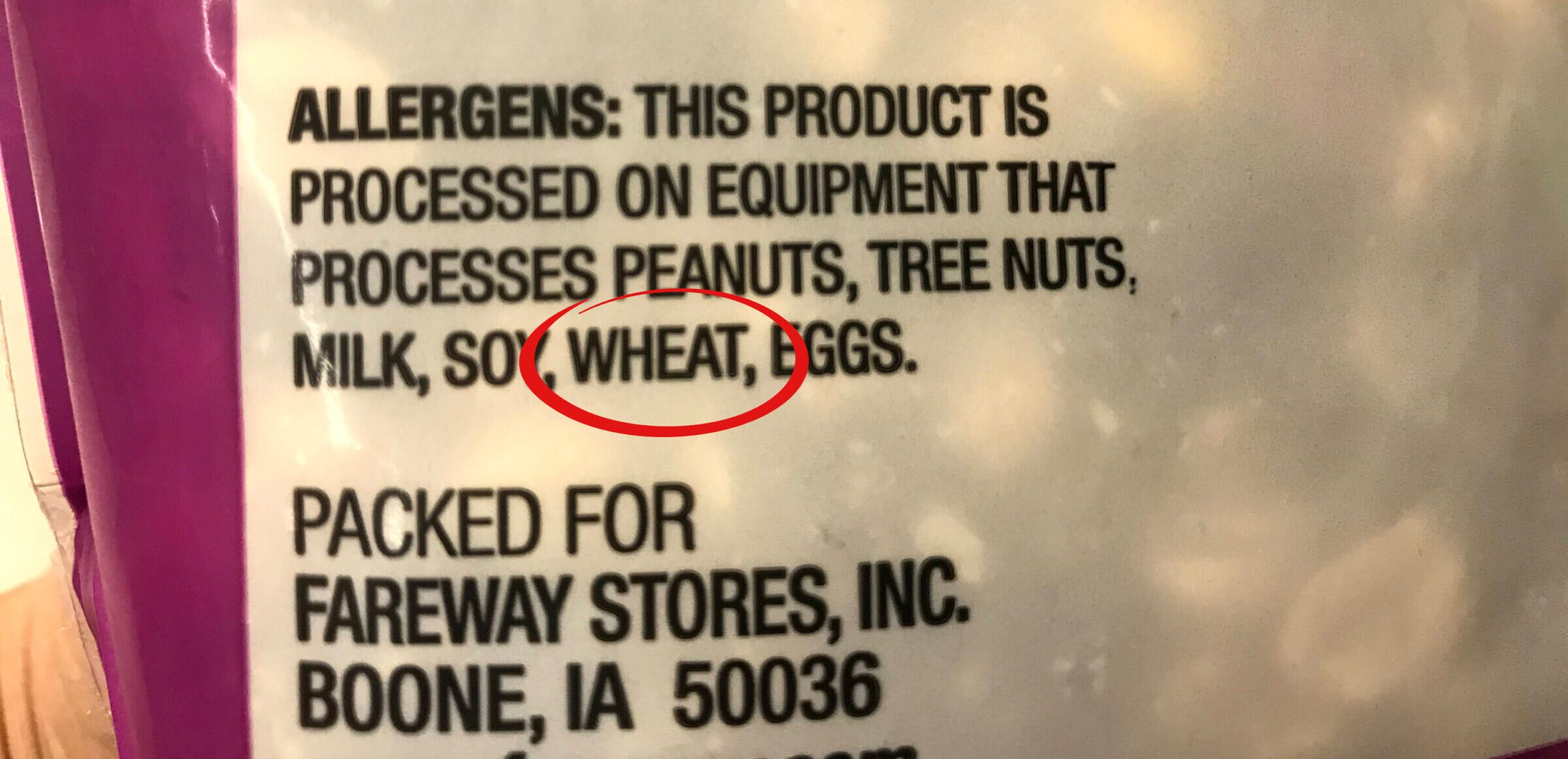 Advisory statement on a product label containing wheat