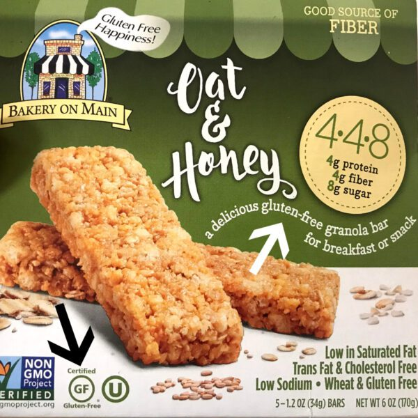 Oats and honey granola bars with gluten free labeling