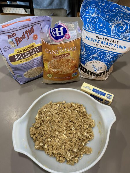Gluten Free Crumble topping with ingredients shown