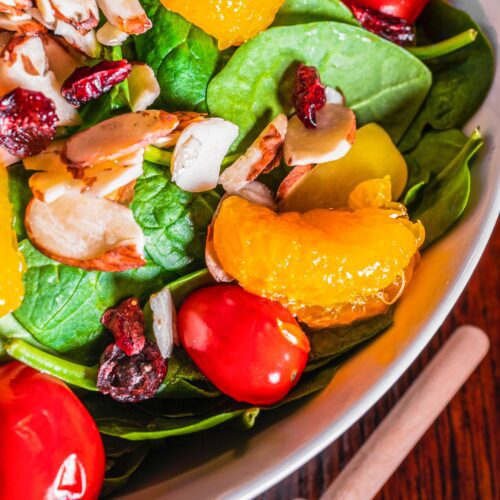 Mixed greens with almonds, mandarins, tomatoes