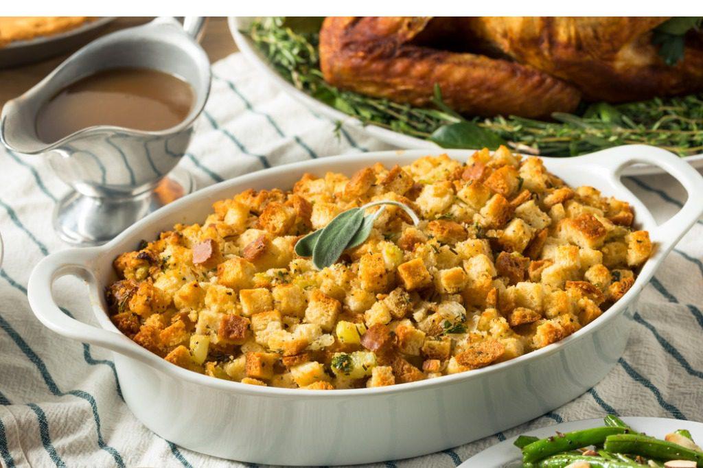 Gluten Free Stuffing in serving dish